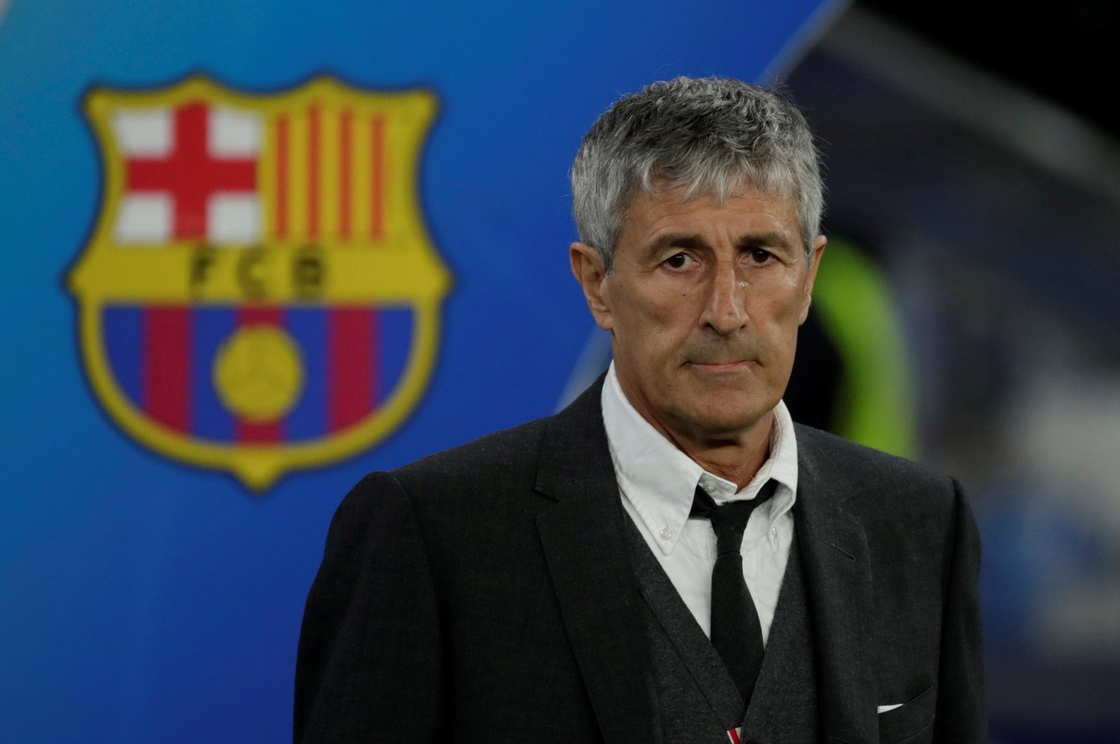 Barcelona coach Setien before a Champions League match in Naples, Italy, Feb. 25, 2020. (Reuters Photo)