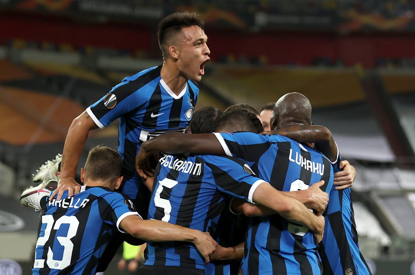 Inter Milan players celebrate a goal during the UEFA Europa League semifinal match against Shakhtar Donetsk in Dusseldorf, Germany, Aug. 17, 2020. (EPA Photo)