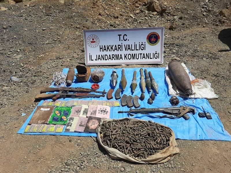 Turkish security forces have seized 26 Kalashnikovs, 90 ammunition clips, four guided missiles, 36 grenades, five stockpiles of gun ammunition and many other weapons belonging to the terrorists during the seven months of operations in Hakkari, Aug.18, 2020. (AA)