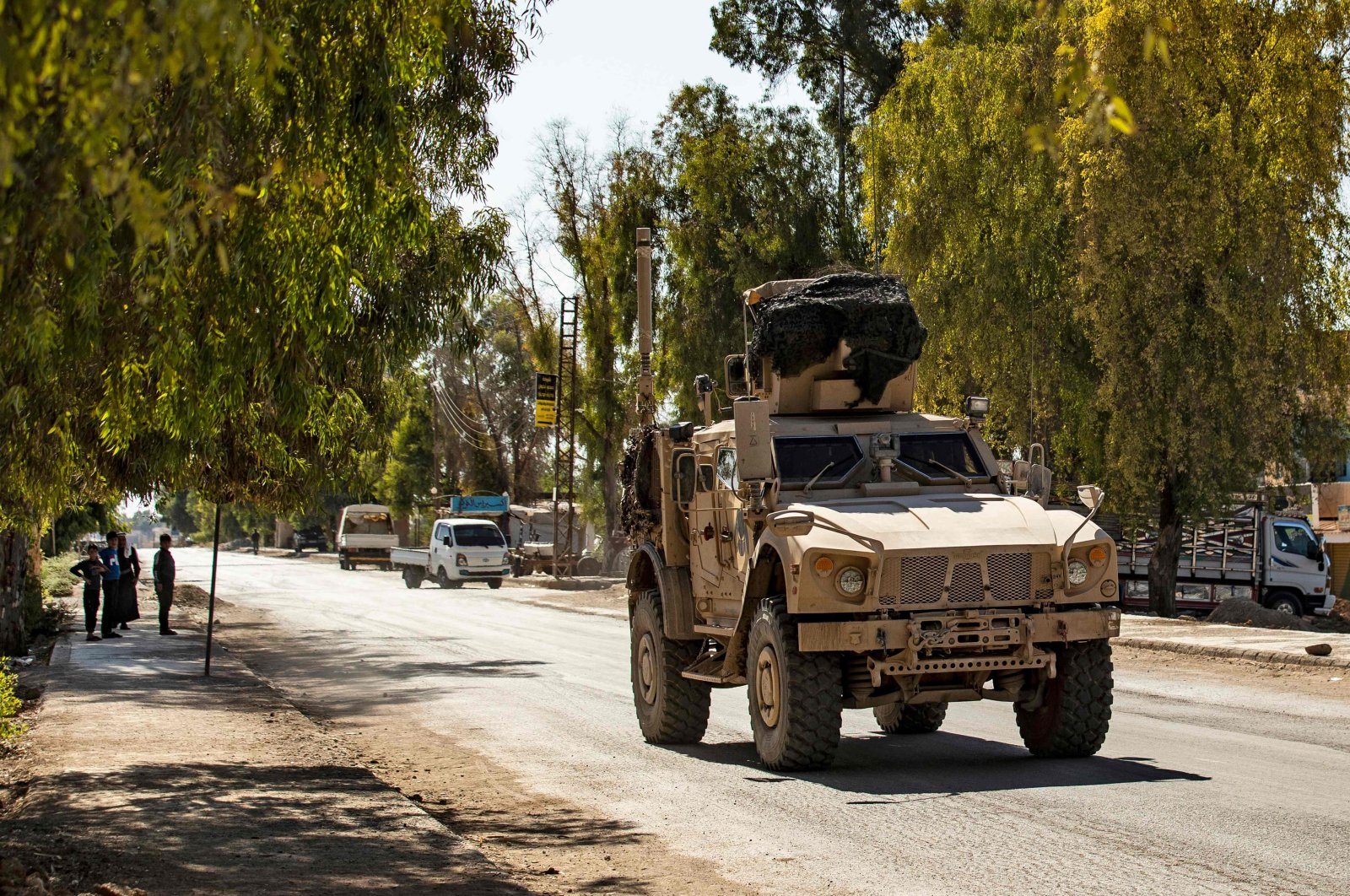 U.S. forces patrol the area of the town of Tal Tamr, in Syria's northeastern Hasakeh province, Aug. 17, 2020. (AFP Photo)