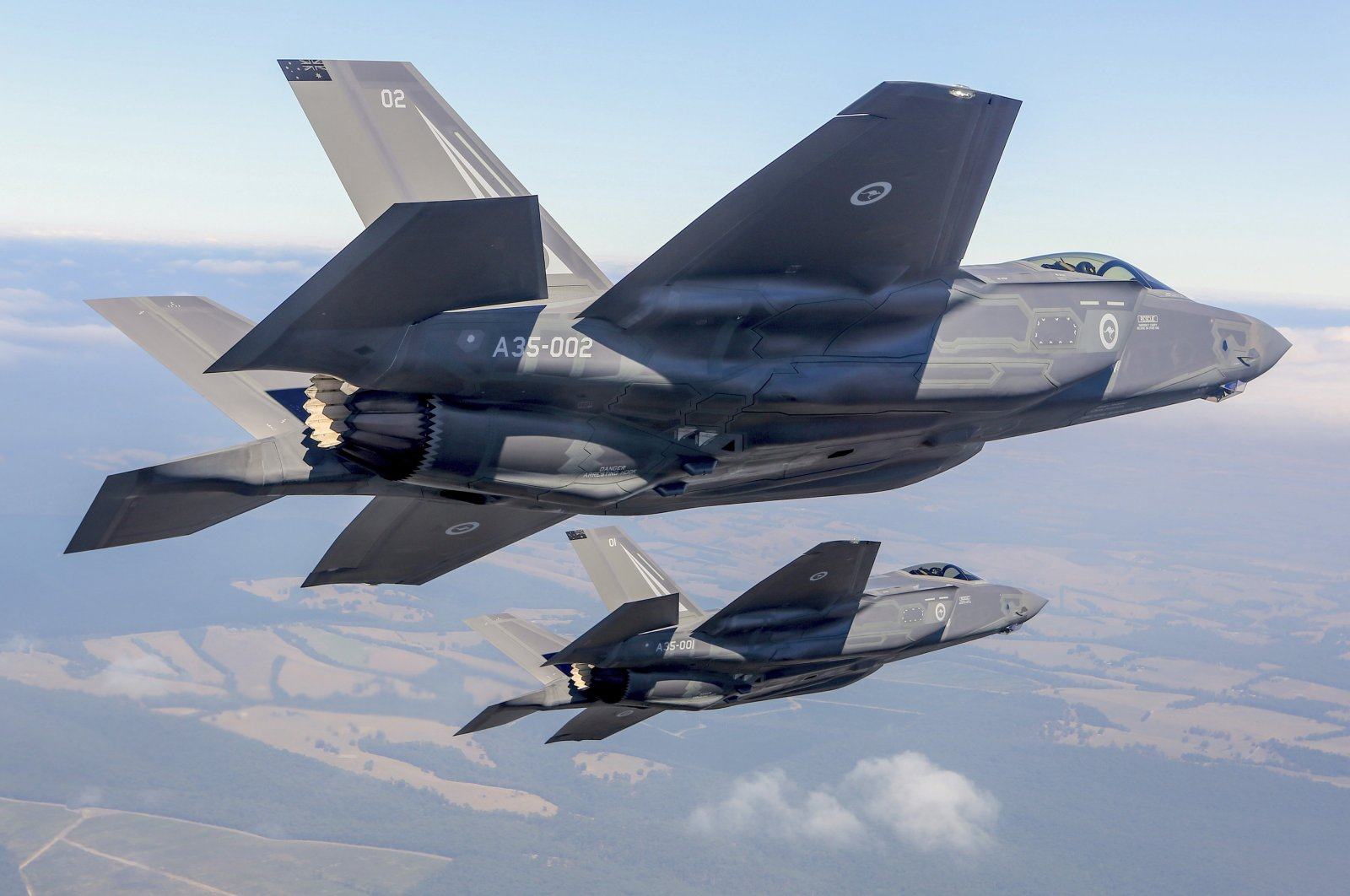 Two Lockheed Martin Corp F-35 stealth fighter jets fly during a display at the Avalon Airshow in Victoria, Australia, March 3, 2017. (Australian Defense Force/ Reuters Photo)