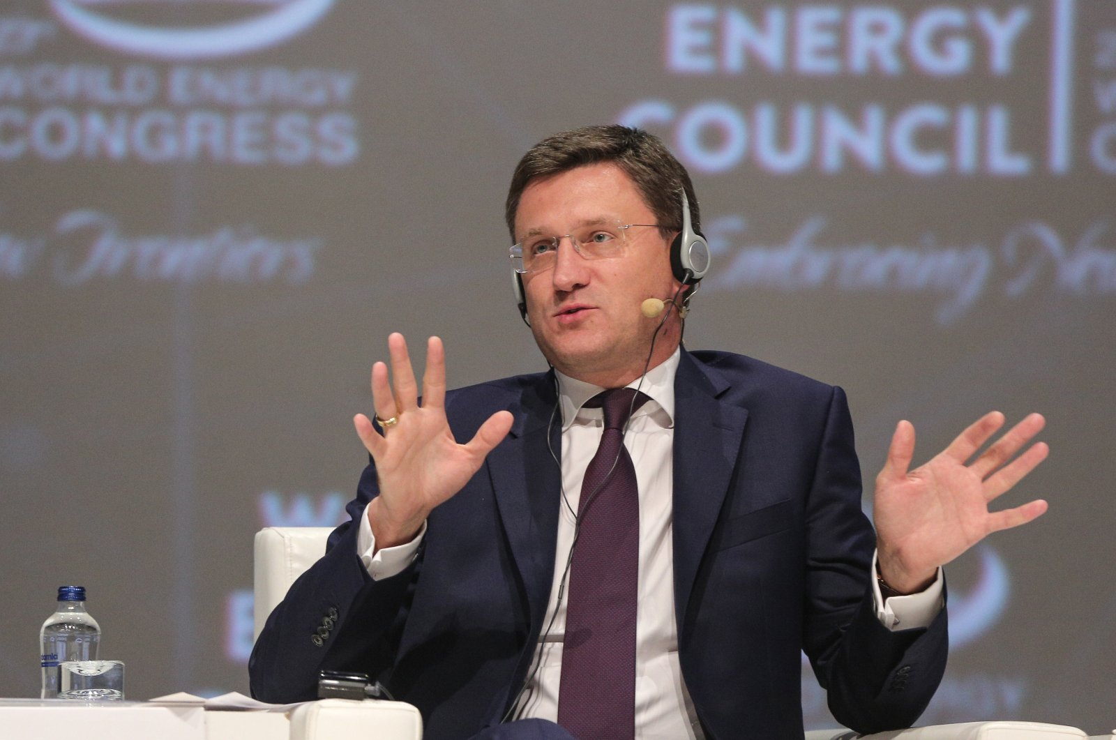 Russian Energy Minister Alexander Novak attends 23. World Energy Council in Istanbul Congress Center, Turkey, 2016. (AA Photo)