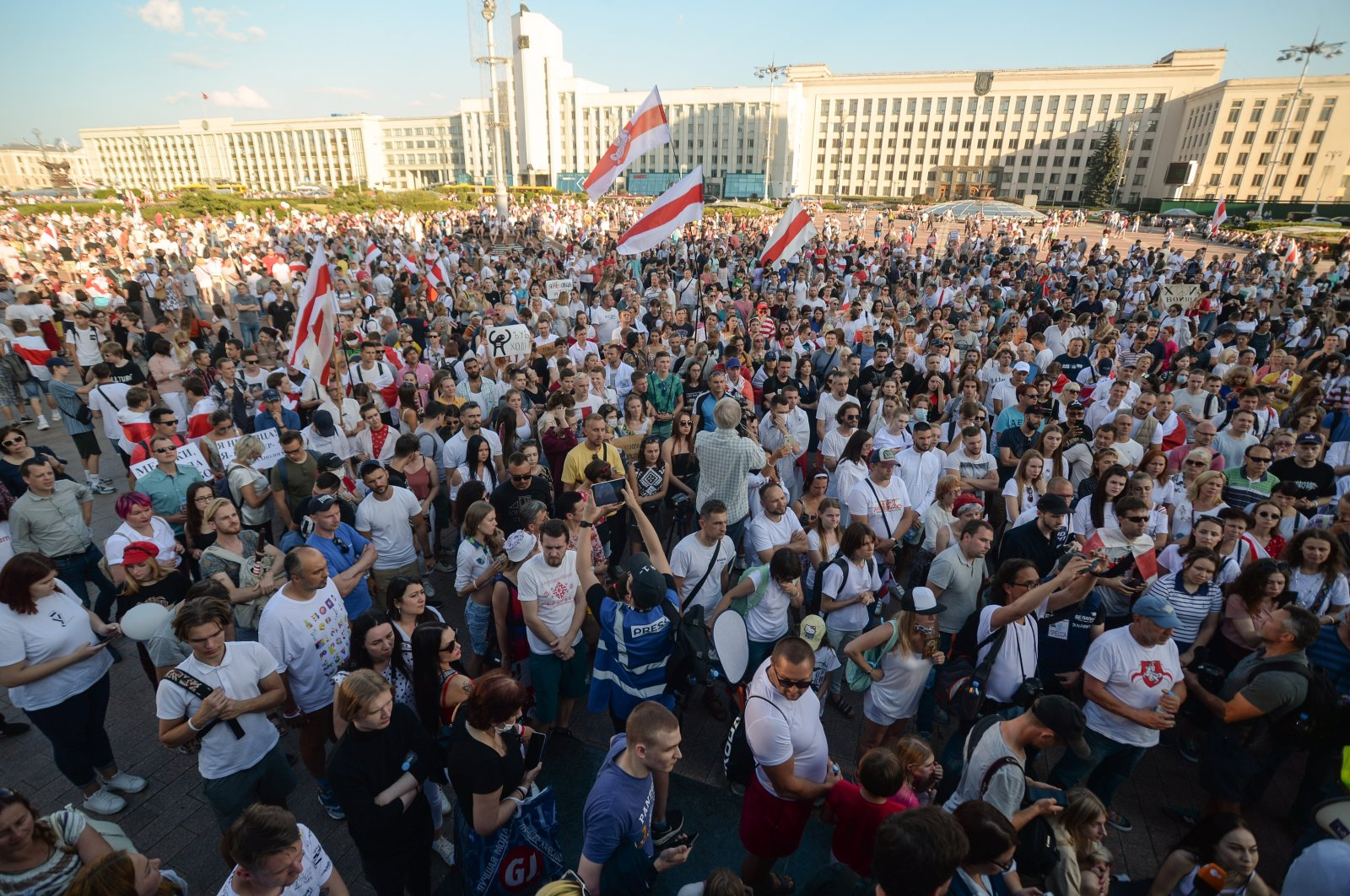 Opposition supporters take part in a protest rally in the capital Minsk, Belarus, Aug. 17, 2020. (EPA Photo)