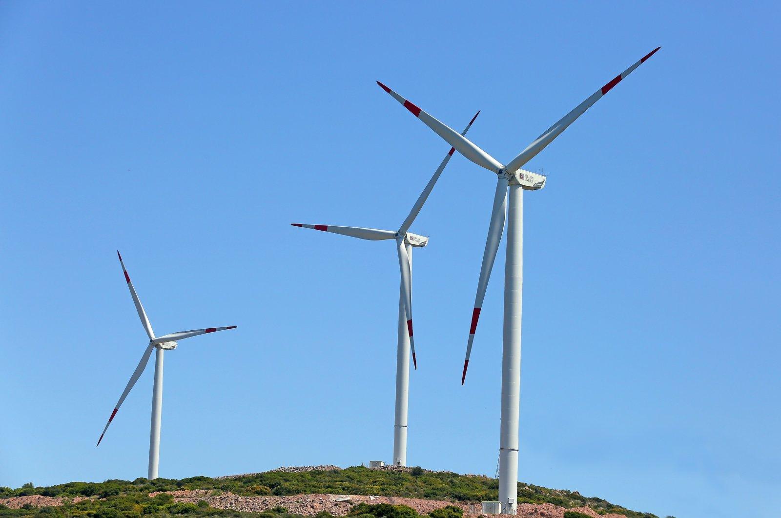 Wind turbines are seen in Turkey's western province of Izmir, Aug. 17, 2020. (IHA)