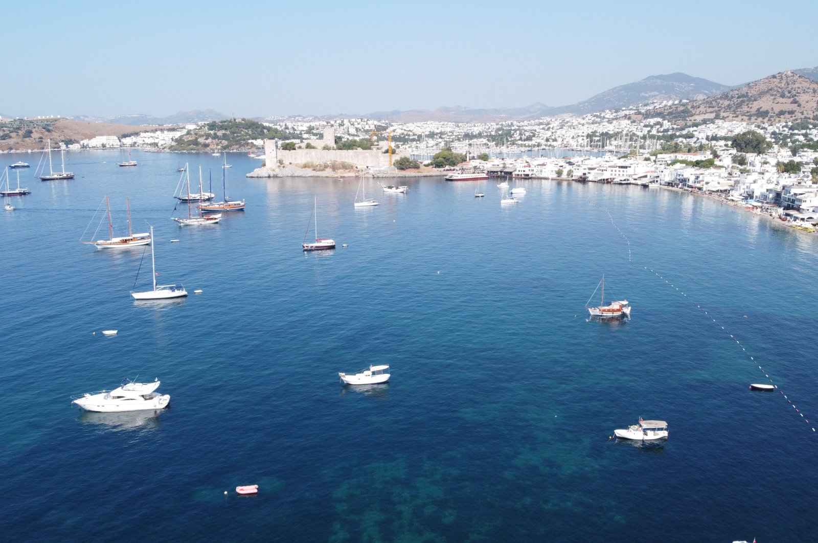 An aerial photo shows the coastline near Bodrum Castle in the port town of Bodrum, Muğla province, southwestern Turkey, Aug. 17, 2020. (AA Photo)