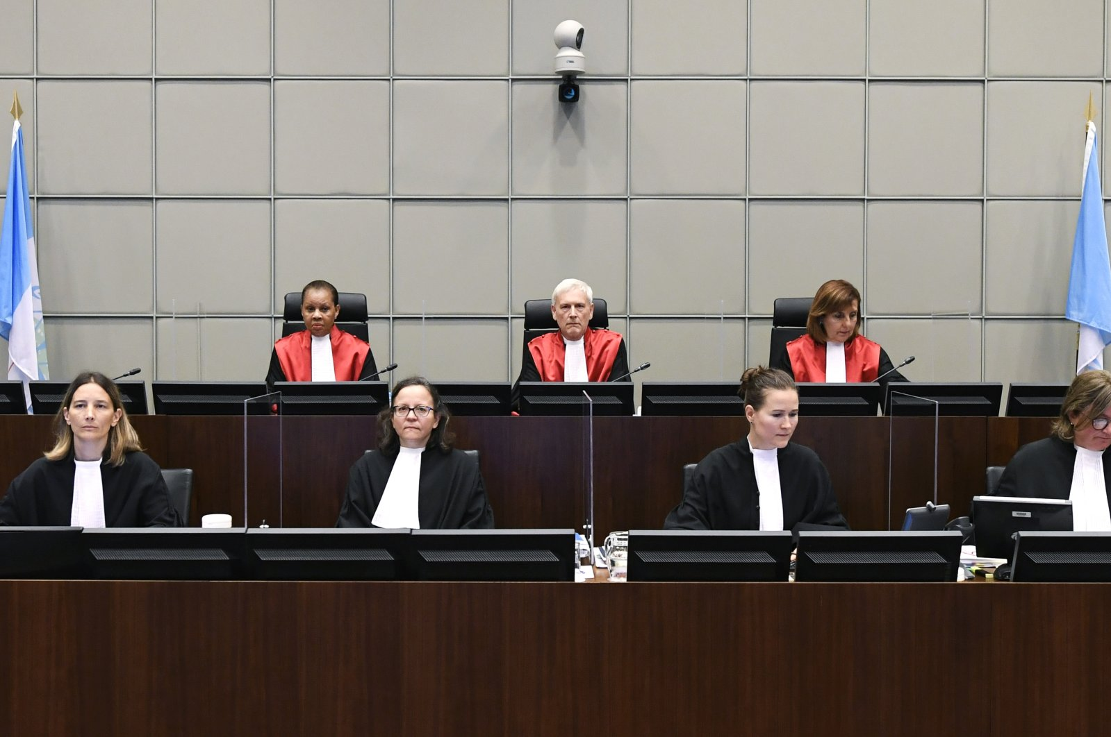 Judges are seen during a session of the United Nations-backed Lebanon Tribunal in Leidschendam, the Netherlands, Aug. 18, 2020. (AP Photo)