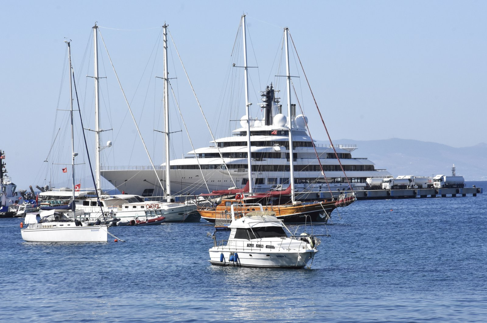 The 140-meter Sheherazade anchors in the resort town of Bodrum in Muğla, southwestern Turkey, Aug. 16, 2020. (AA Photo)