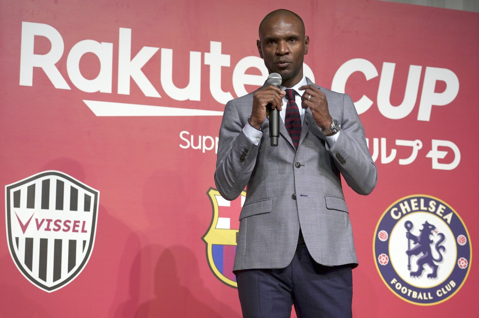 Eric Abidal delivers a speech during a press conference in Tokyo, Japan, April 18, 2019. (AP Photo)