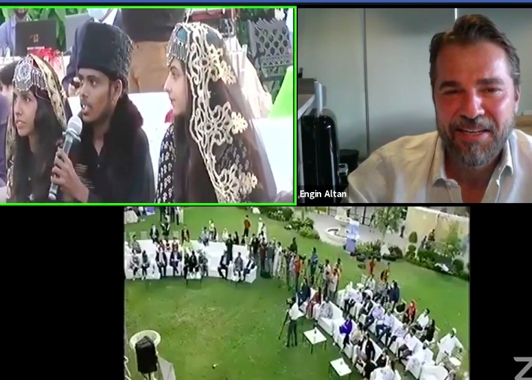 Still shot from the video call of Engin Altan Düzyatan (R) with Pakistani children. (AA PHOTO)