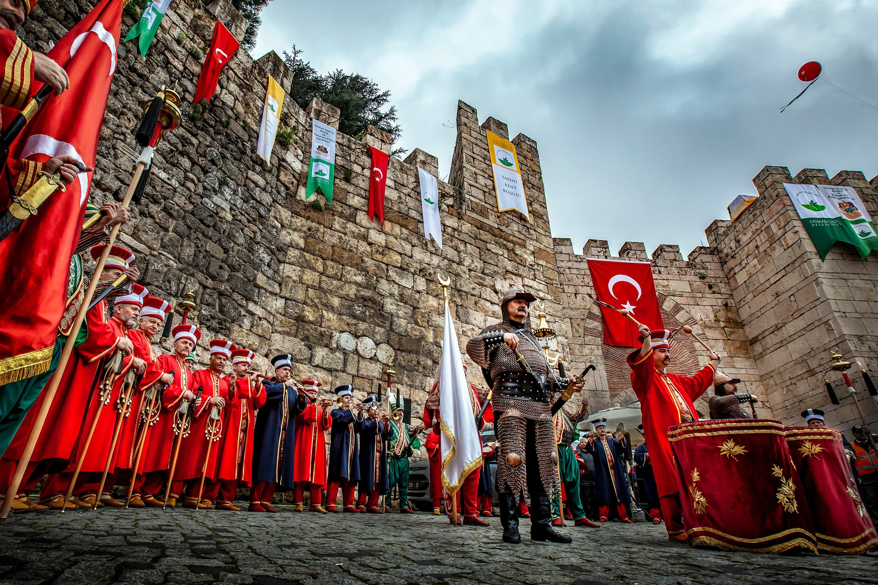 A Mehter band is seen in their traditional clothes in Bursa, northwestern Turkey, April 14, 2019. (Shutterstock Photo)