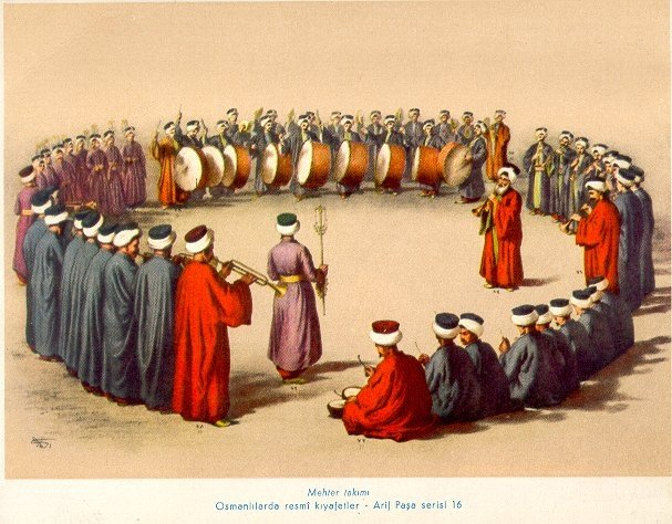 A painting by Turkish painter Arif Pasha showing a Mehter band with official costumes.