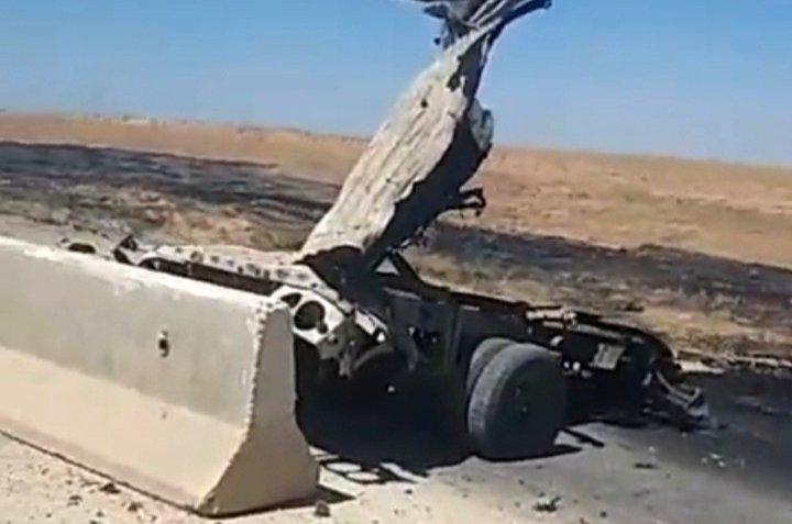The remnants of a vehicle destroyed in a YPG/PKK attack in Ras al-Ain, Syria, Aug. 18, 2020. (IHA Photo)