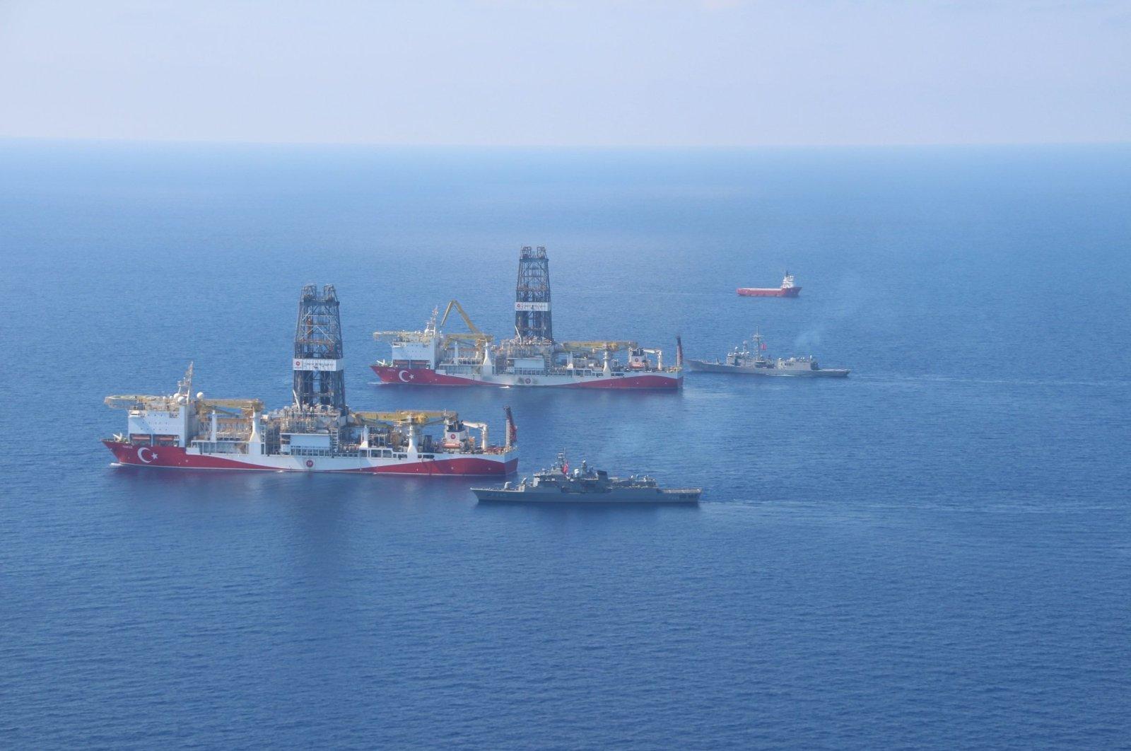 Turkey's drilling vessels Yavuz and Fatih in the Eastern Mediterranean on Aug. 10, 2020. (IHA Photo)