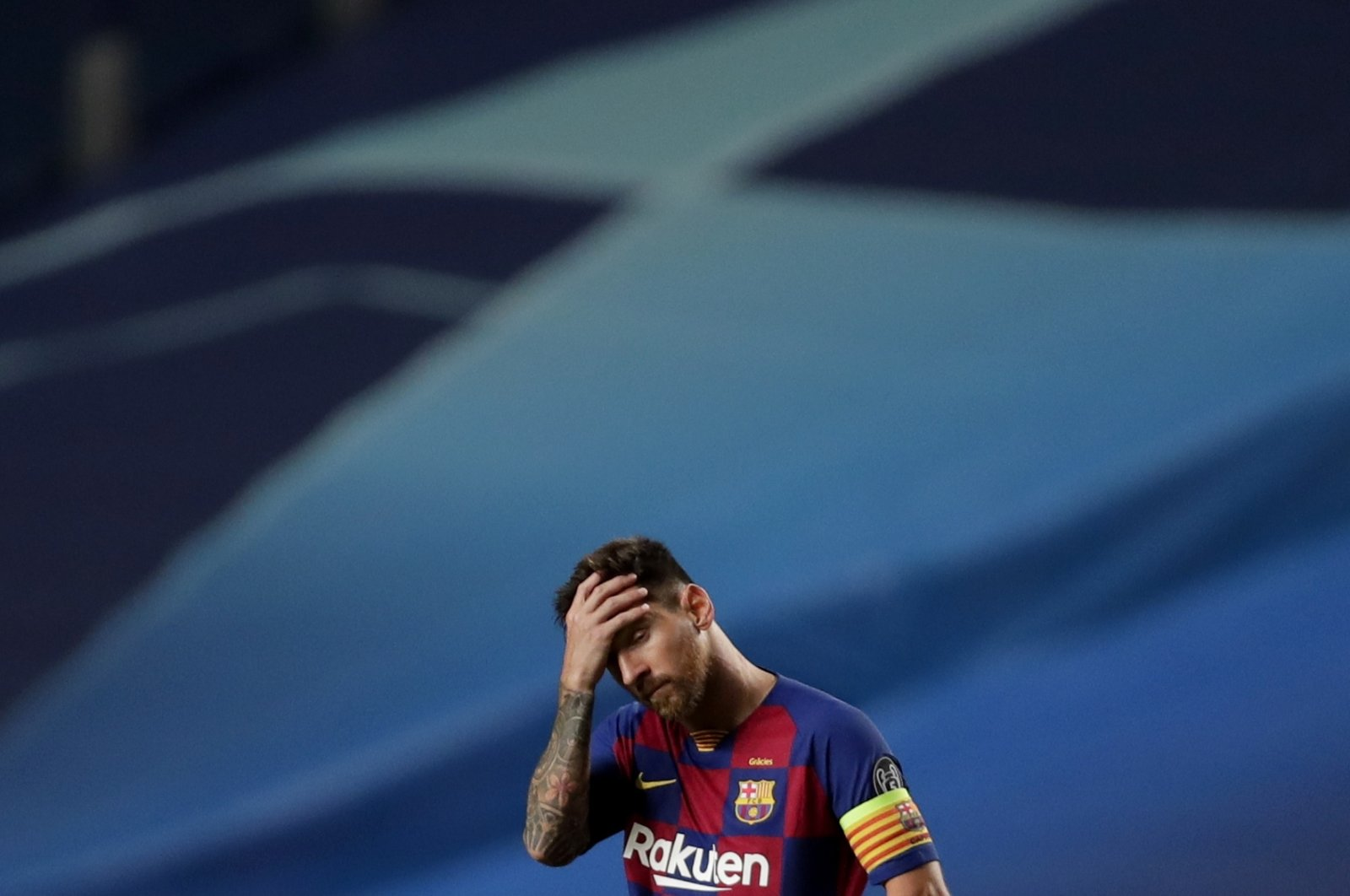 Barcelona's Lionel Messi reacts during the UEFA Champions League quarterfinal match against Bayern Munich in Lisbon, Portugal, Aug. 14, 2020. (EPA Photo)
