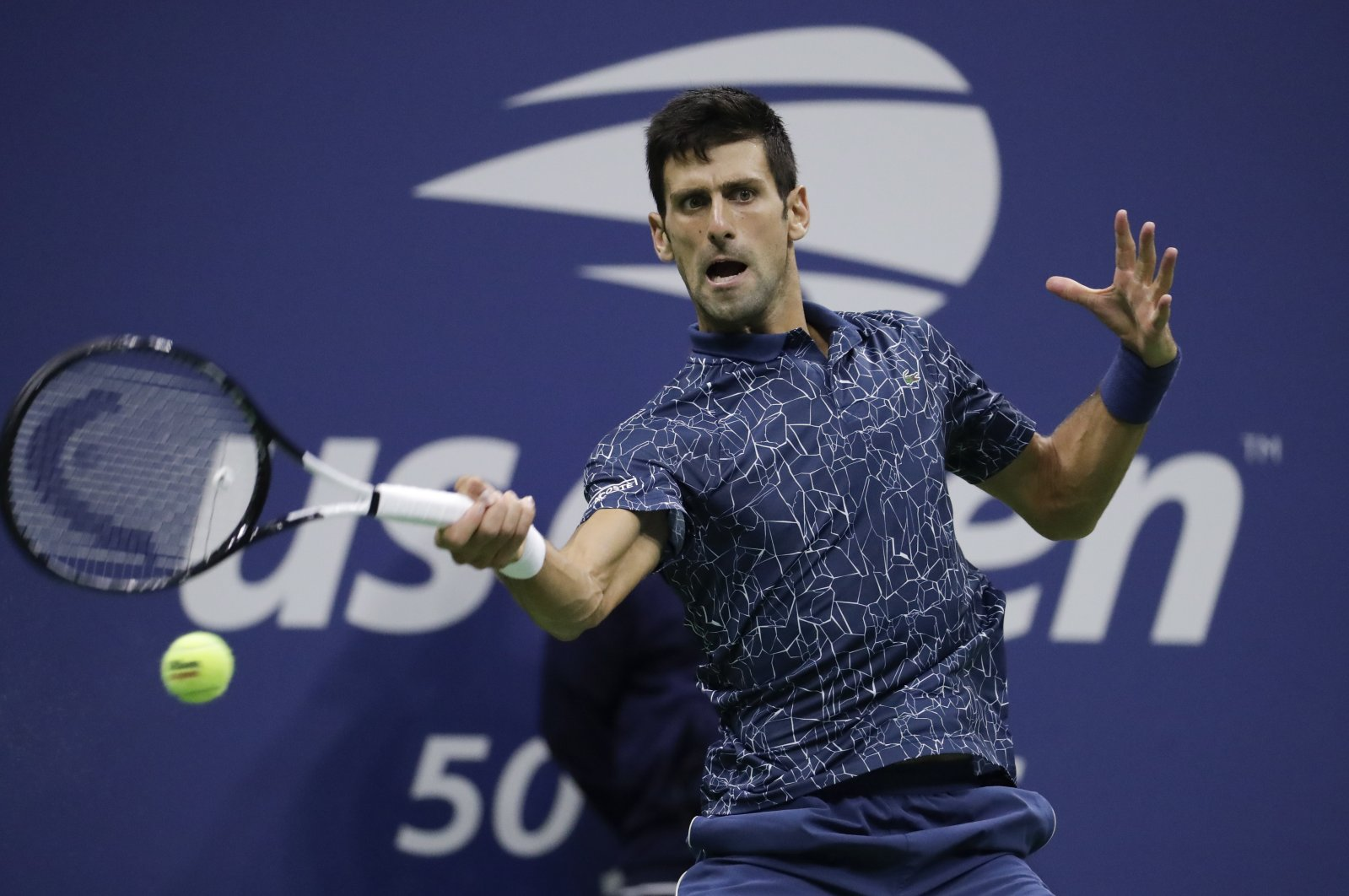 Novak Djokovic in action during the U.S. Open tennis tournament final in New York, U.S., Sept. 9, 2018. (AP Photo)