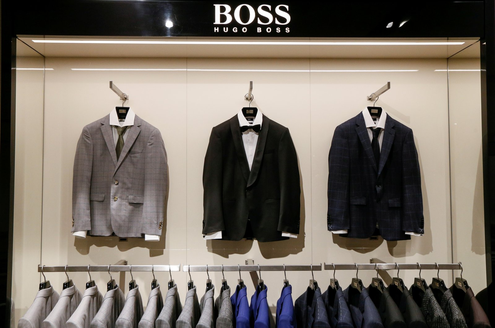 Jackets on display in the Hugo Boss section in the Central Universal Department Store (TsUM) in Kiev, Ukraine, May 17, 2017. (Reuters Photo)