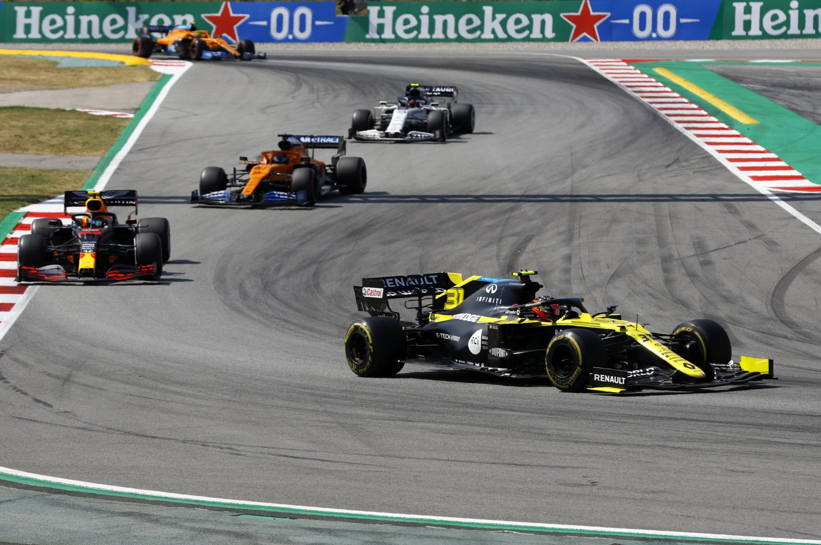 Renault driver Esteban Ocon steers his car during the Formula One Spanish Grand Prix in Montmelo, Spain, Aug. 16, 2020. (AP Photo)