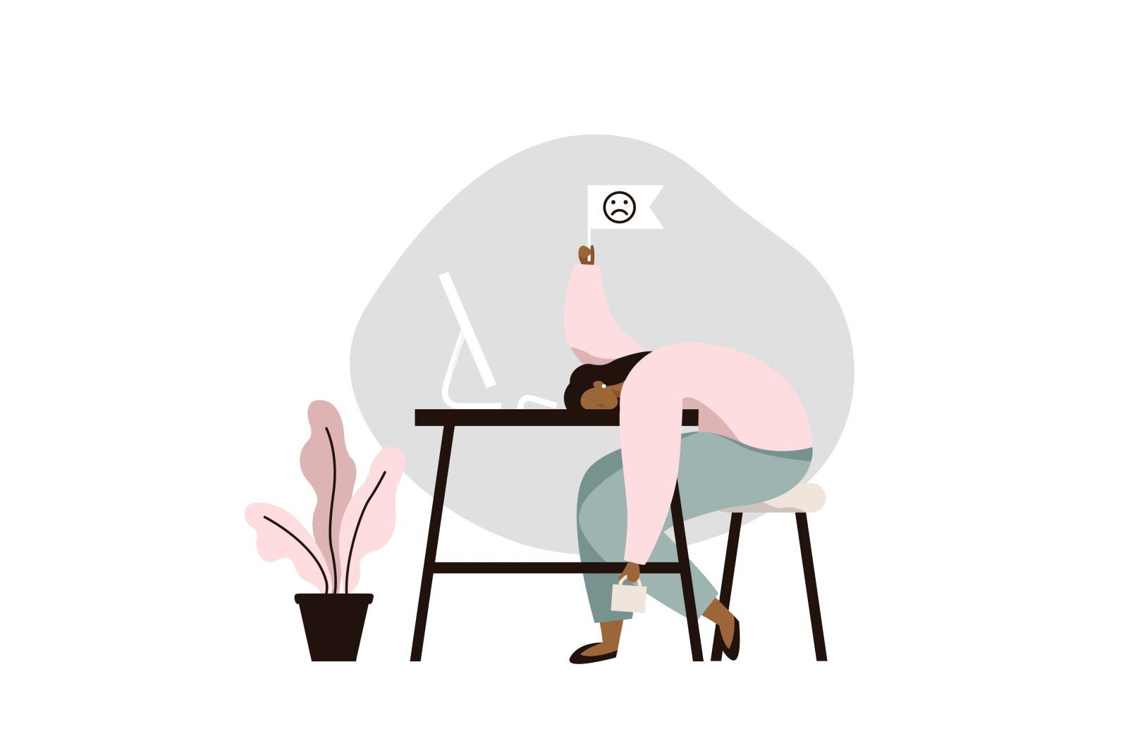 A female worker is overwhelmed and drained by her workload in this depiction of occupational burnout. (iStock Photo)