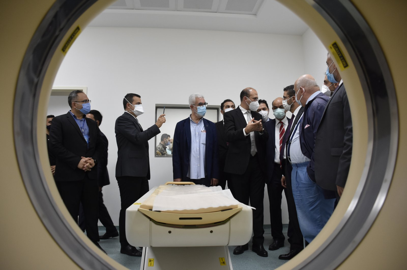 Dr. Serkan Topaloğlu from Turkey's Health and Food Policies Committee, Turkey's ambassador to Beirut Hakan Çakıl and Lebanese officials visit the Saida Turkish Hospital in Lebanon, Aug. 13, 2020. (AA Photo)