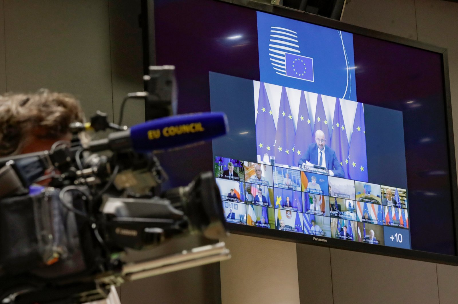 European Council President Charles Michel takes part in a virtual summit with European Commission President Ursula von der Leyen and European leaders to discuss Belarus' situation, in Brussels, Belgium Aug. 19, 2020. (Reuters Photo)