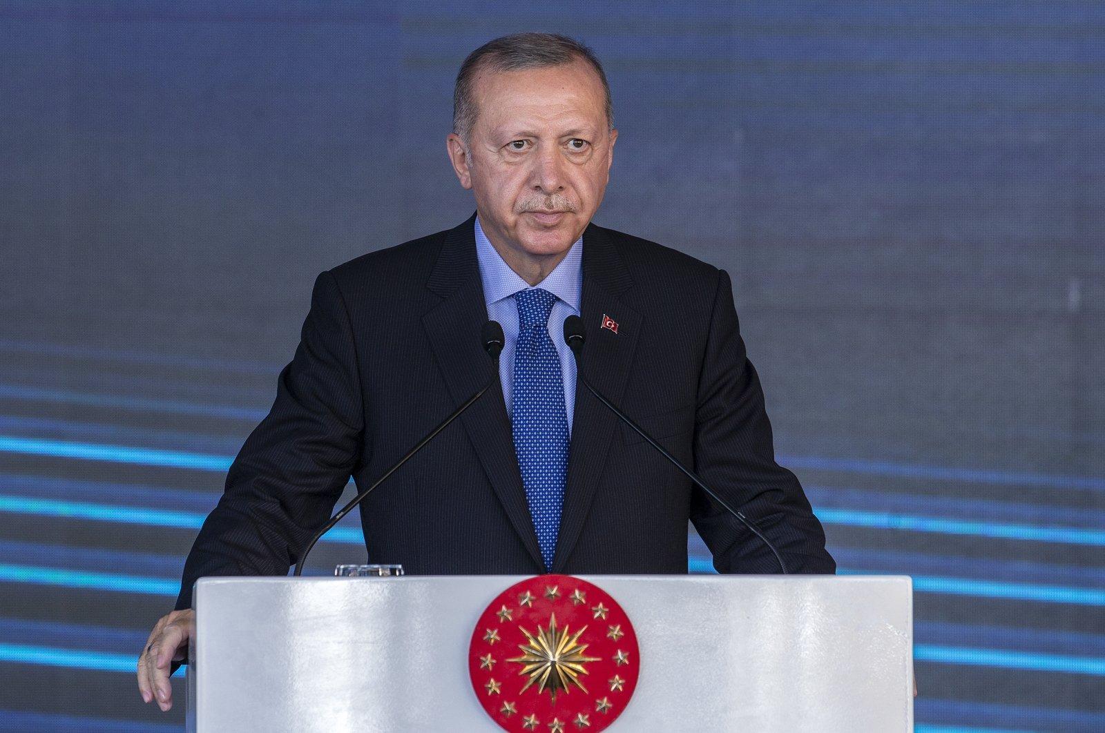 President Recep Tayyip Erdoğan speaks at the opening ceremony of Turkey's first solar panel factory in Ankara, Turkey, Aug. 19, 2020. (AA Photo)