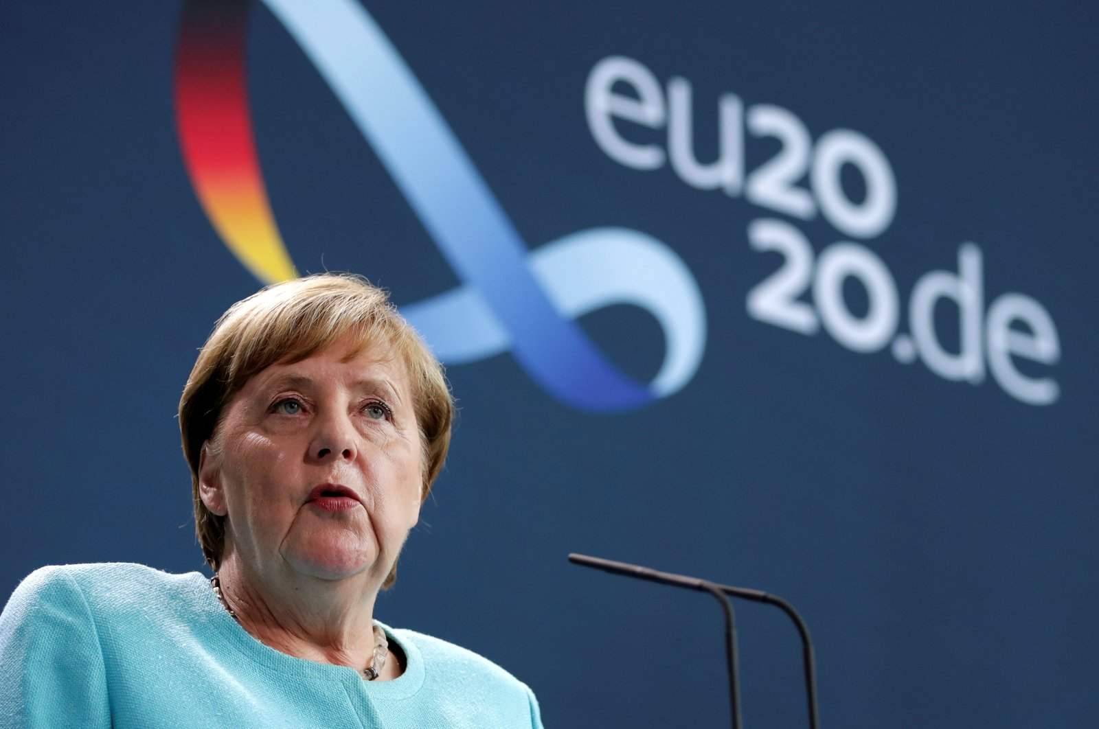 German Chancellor Angela Merkel speaks to reporters after EU leaders held a video summit on the situation in Belarus, at the Chancellery in Berlin, August 19, 2020.  (REUTERS)