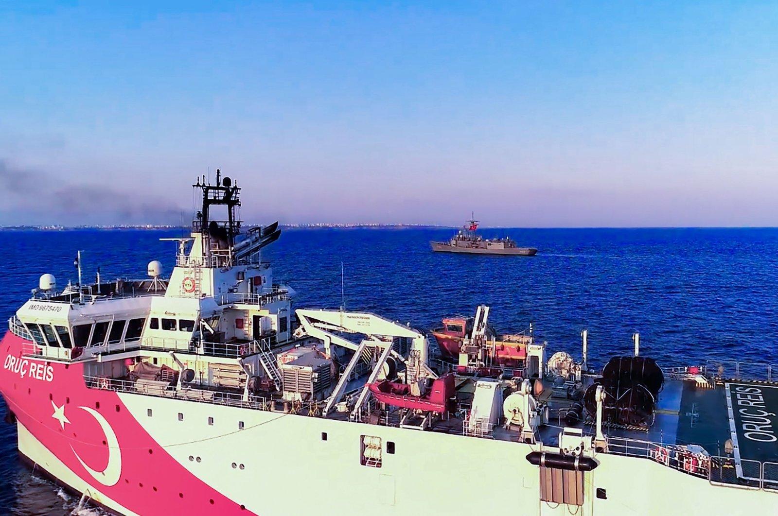 Turkish seismic research vessel 'Oruç Reis' heading in the west of Antalya on the eastern Mediterranean Sea, Aug.12, 2020. (AFP)