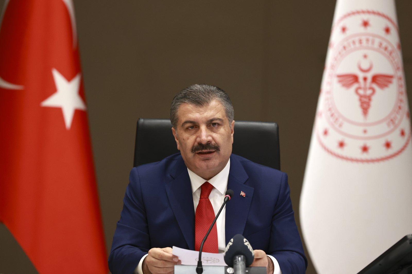 Health Minister Fahrettin Koca speaks following a science committee meeting on the coronavirus pandemic, Aug. 19, 2020. (AA Photo)
