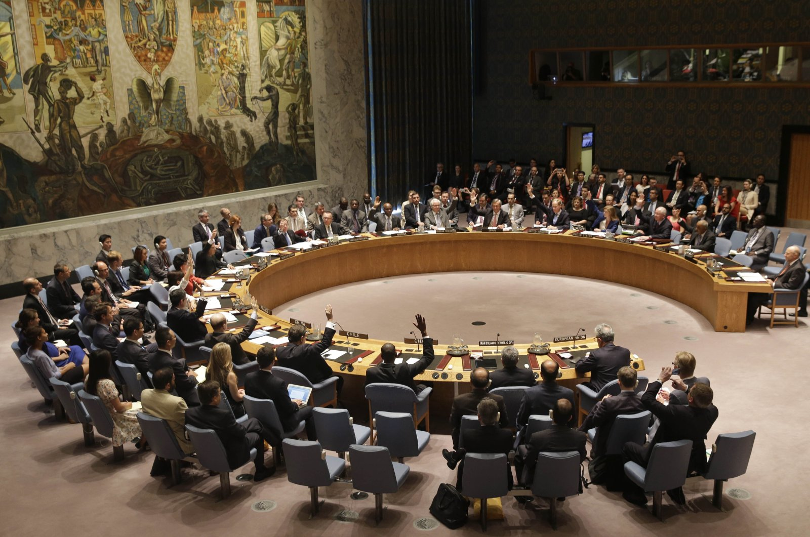 Members of the Security Council vote at United Nations headquarters on the landmark nuclear deal between Iran and 6 world powers, New York City, New York, U.S. on July 20, 2015. (AP Photo)