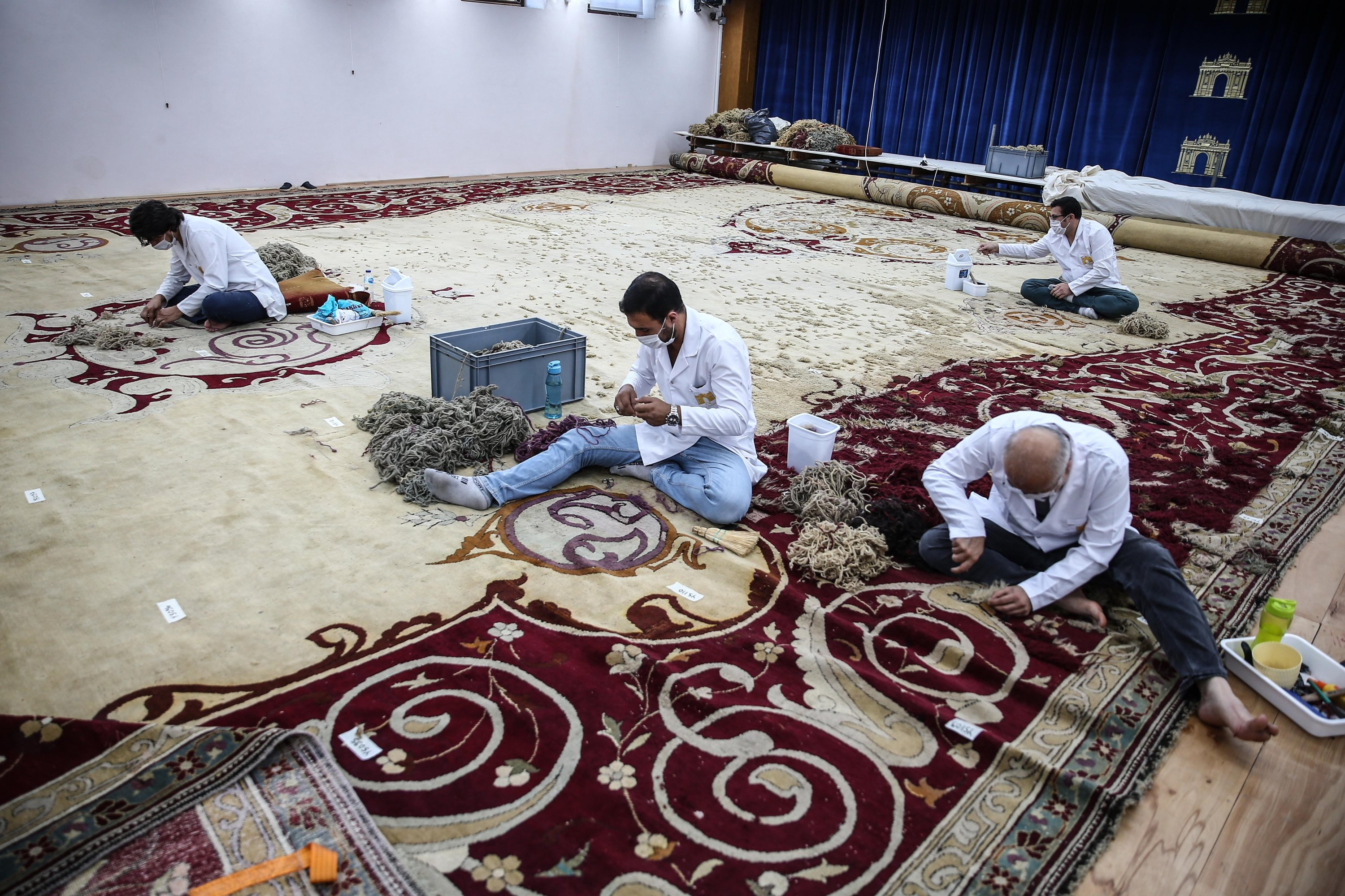 Seventy percent of the restoration of the carpet has been completed, Istanbul, Turkey, Aug. 19, 2020. (AA Photo)