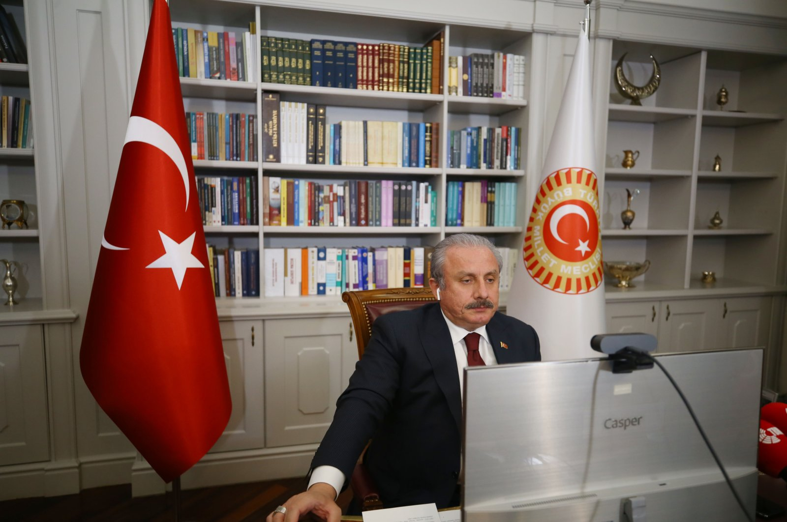 Parliament Speaker Mustafa Şentop spoke through video link from Ankara, Turkey, at the Fifth World Conference of Speakers of Parliament, Aug. 19, 2020. (AA Photo)