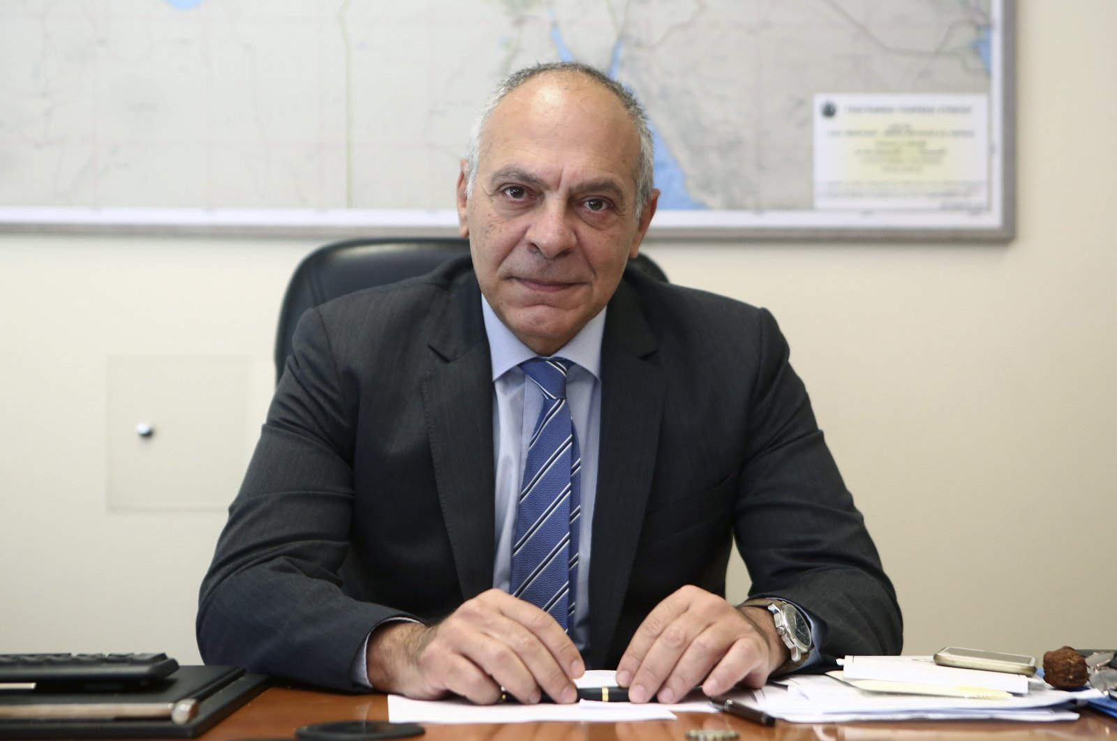 Alexandros Diakopoulos, the top Greek national security adviser, poses for a photograph in Athens, Greece, July 10, 2020. (AP Photo)