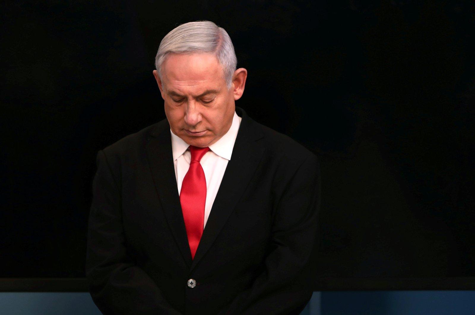 Israeli Prime Minister Benjamin Netanyahu arrives for a speech at his Jerusalem office, Israel, March 14, 2020. (Reuters Photo)