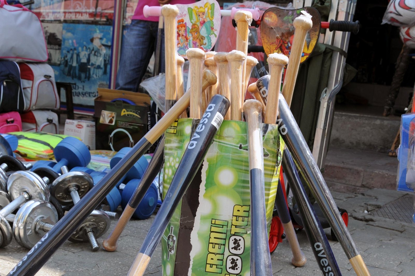 Baseball bats on display outside a shop in Adana, southern Turkey, Aug. 20, 2020. (DHA Photo)