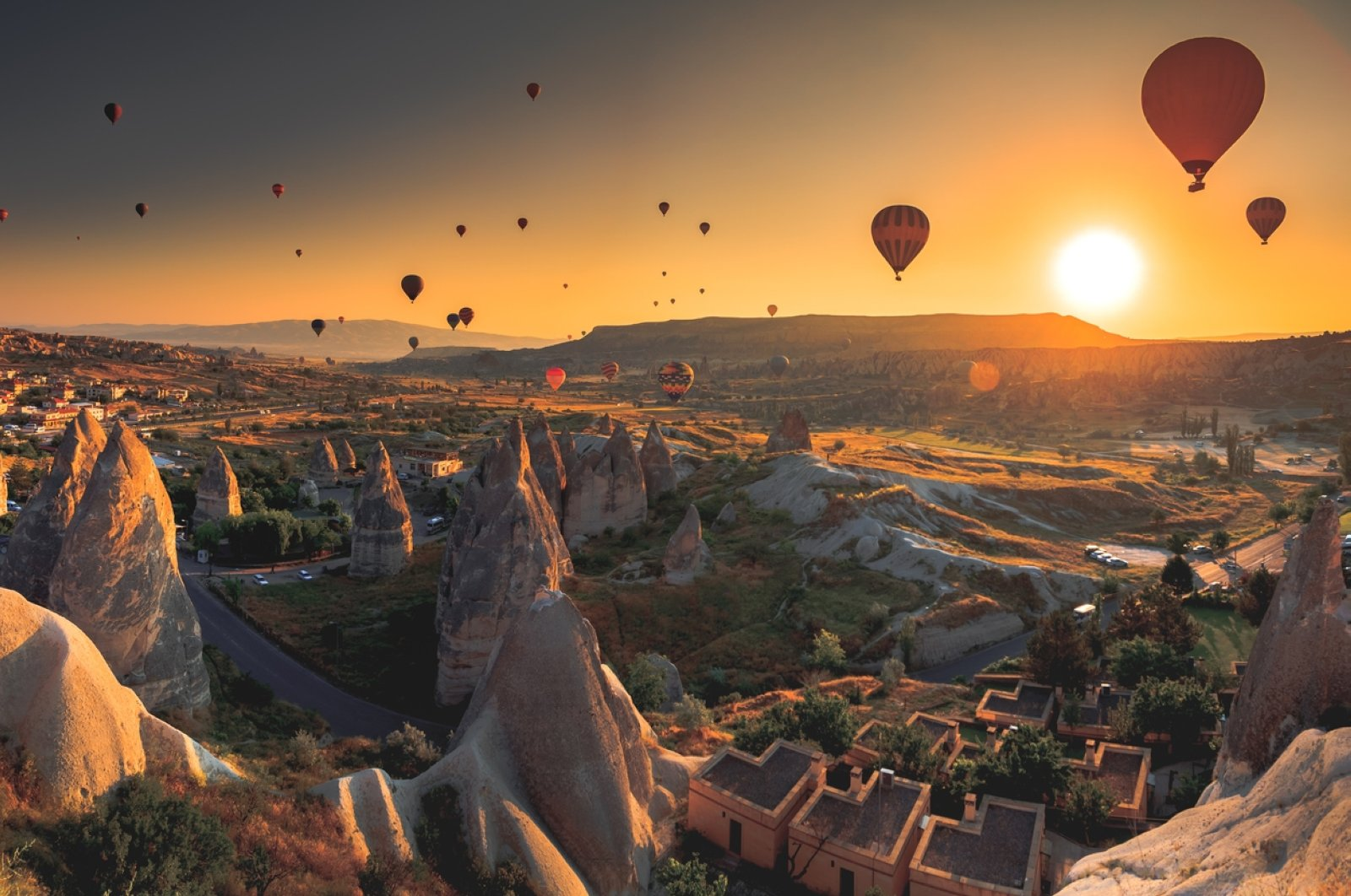 Hot air balloons fly over the Cappadocia region in Nevşehir province, central Turkey, in this undated file photo. (iStock Photo)