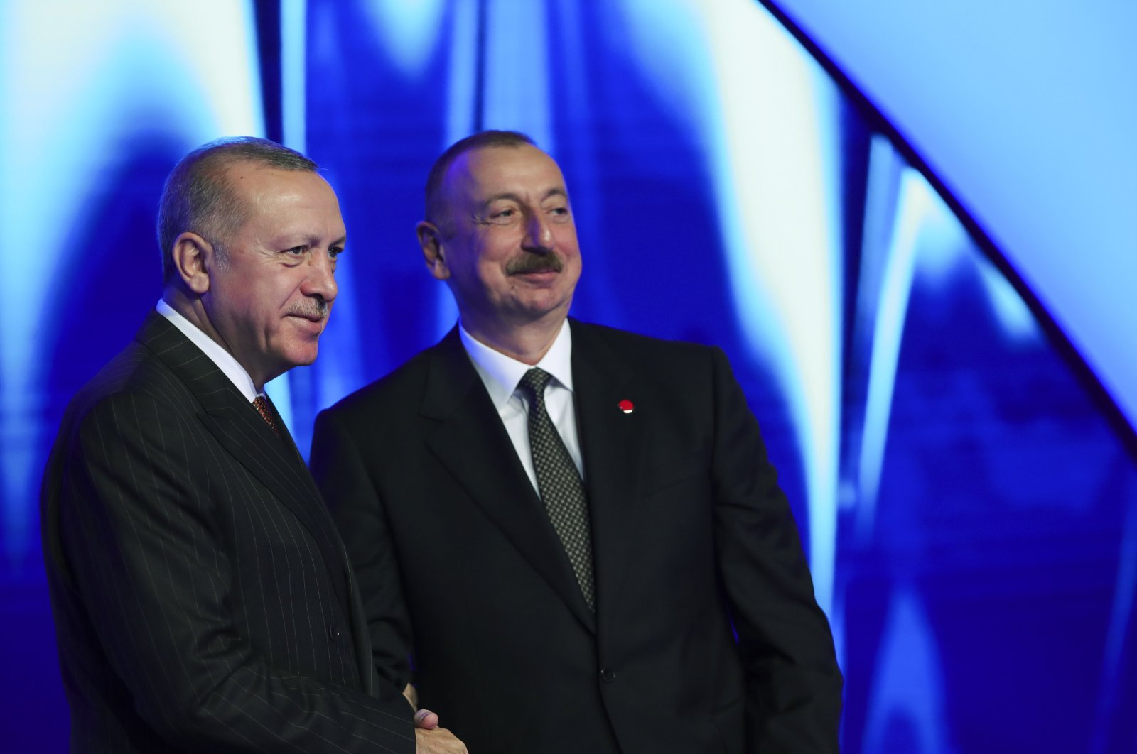 President Recep Tayyip Erdoğan and Azerbaijan's President Ilham Aliyev during an opening ceremony of a part of the Trans-Anatolian Natural Gas Pipeline (TANAP), in the western city of Edirne, Dec. 2, 2019. (AA Photo)