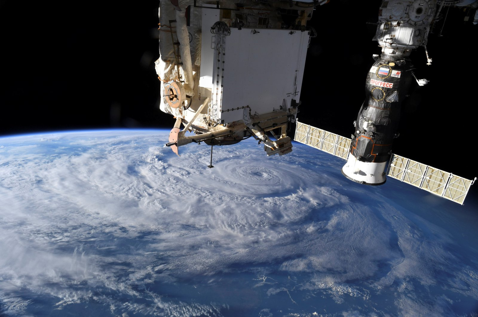 Hurricane Genevieve is seen from the International Space Station (ISS) orbiting Earth in an image taken by NASA astronaut Christopher J. Cassidy, Aug. 19, 2020. (NASA Photo via Reuters)