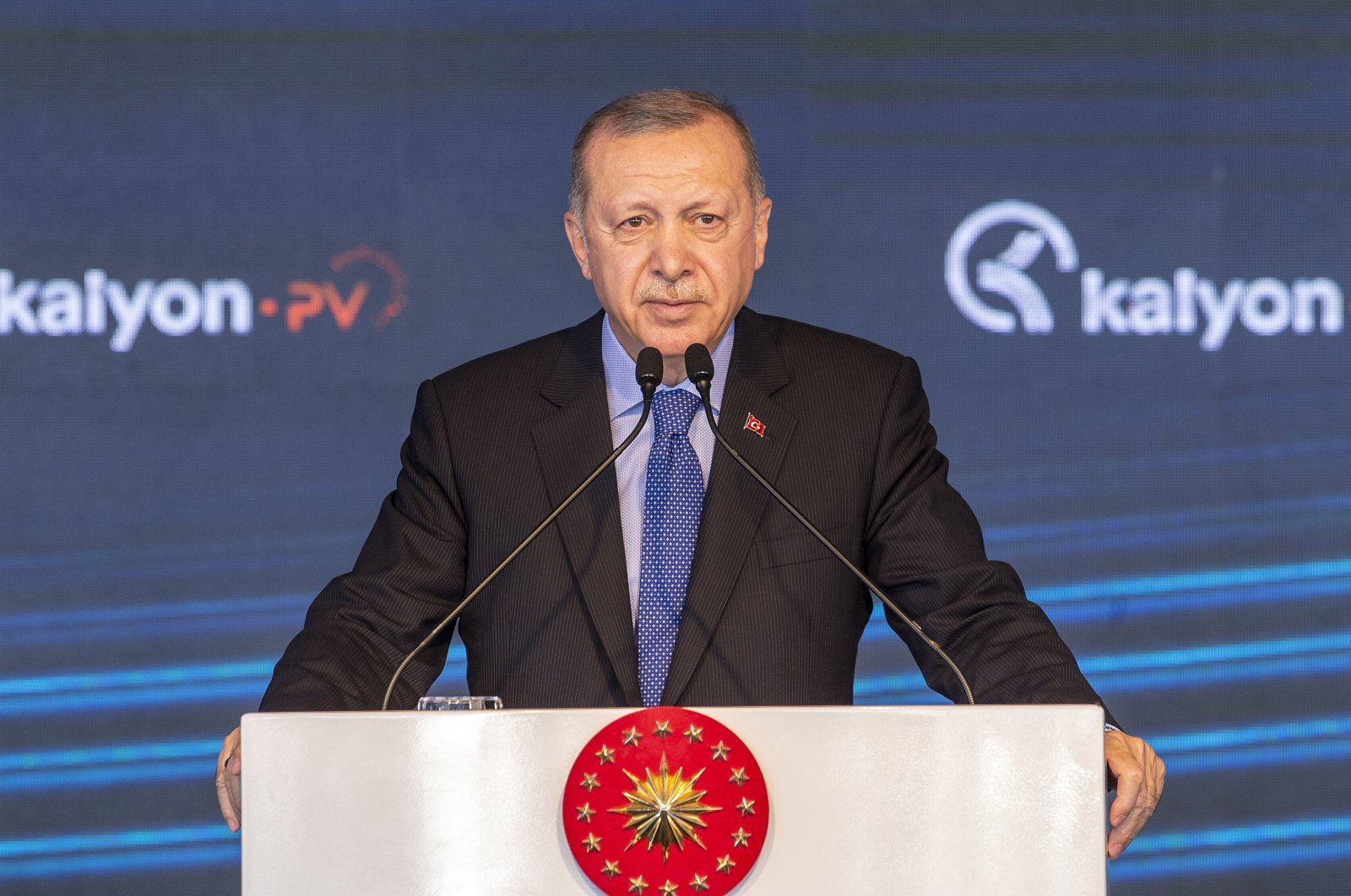 President Recep Tayyip Erdoğan speaks during an opening ceremony of Turkey's first integrated solar panel manufacturing facility, Ankara, Turkey, Aug. 19, 2020. (AA Photo)