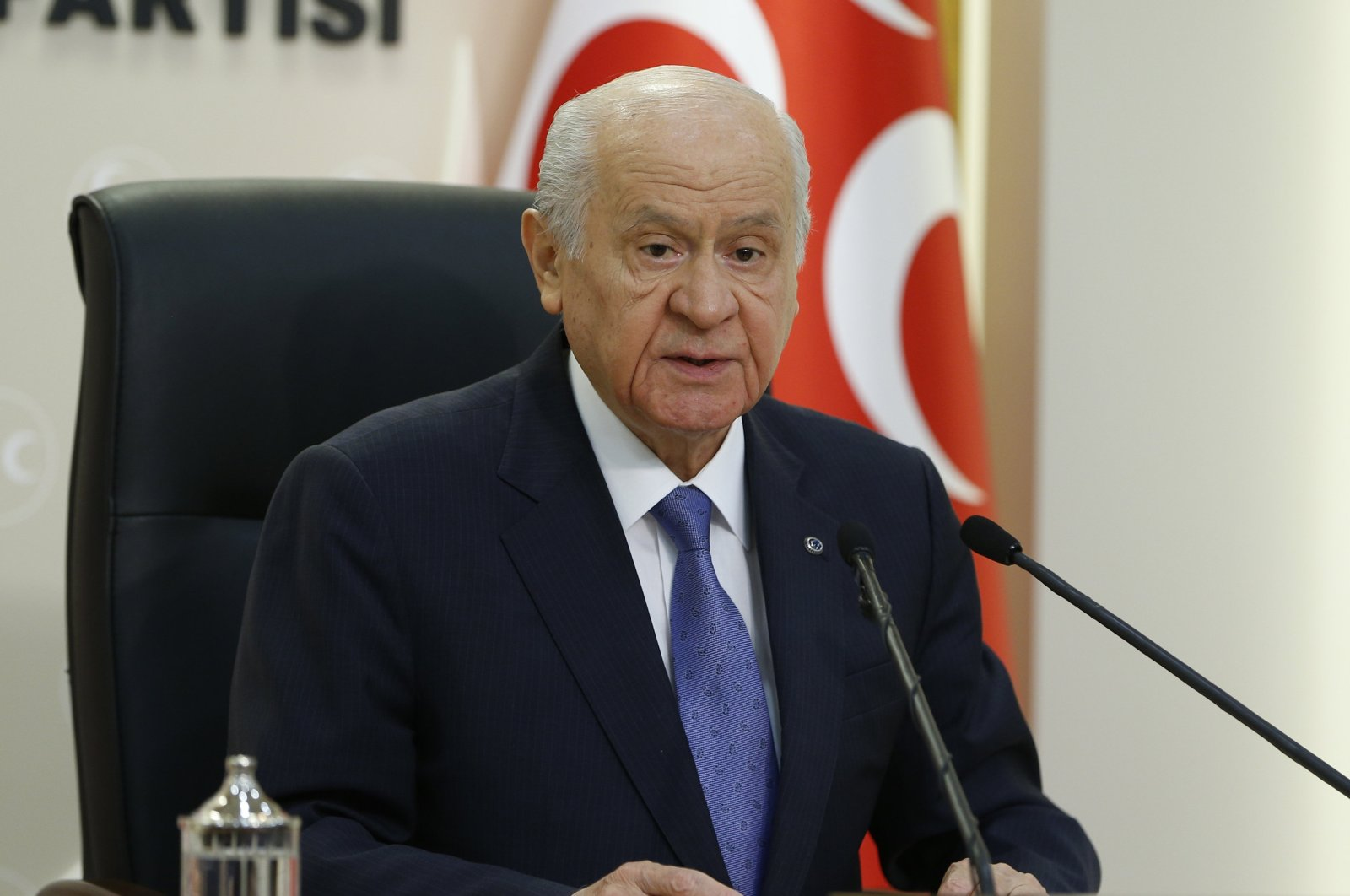 Nationalist Movement Party (MHP) Chairman Devlet Bahçeli speaks during a press conference in his party's Ankara headquarters, Turkey, Aug. 8, 2020 (AA Photo)