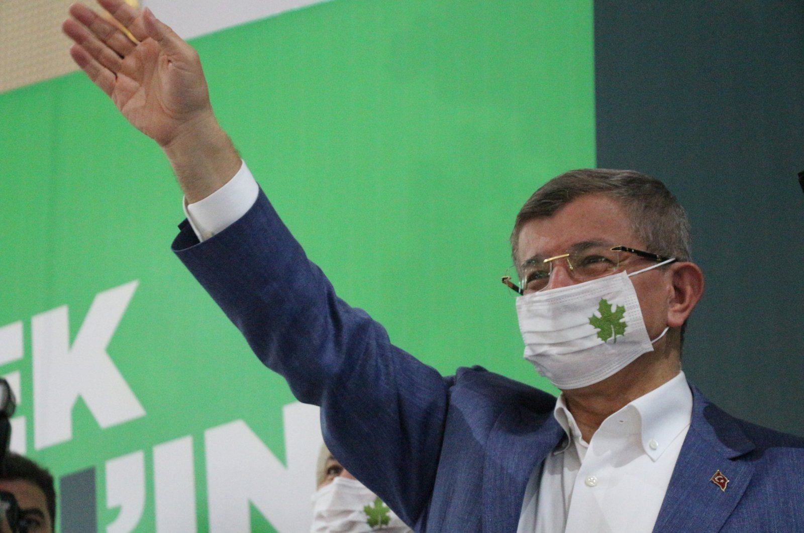 Future Party (GP) Chairman Ahmet Davutoğlu waves to the audience during his party's provincial congress in the eastern city of Batman, Turkey, July 25, 2020. (DHA Photo)