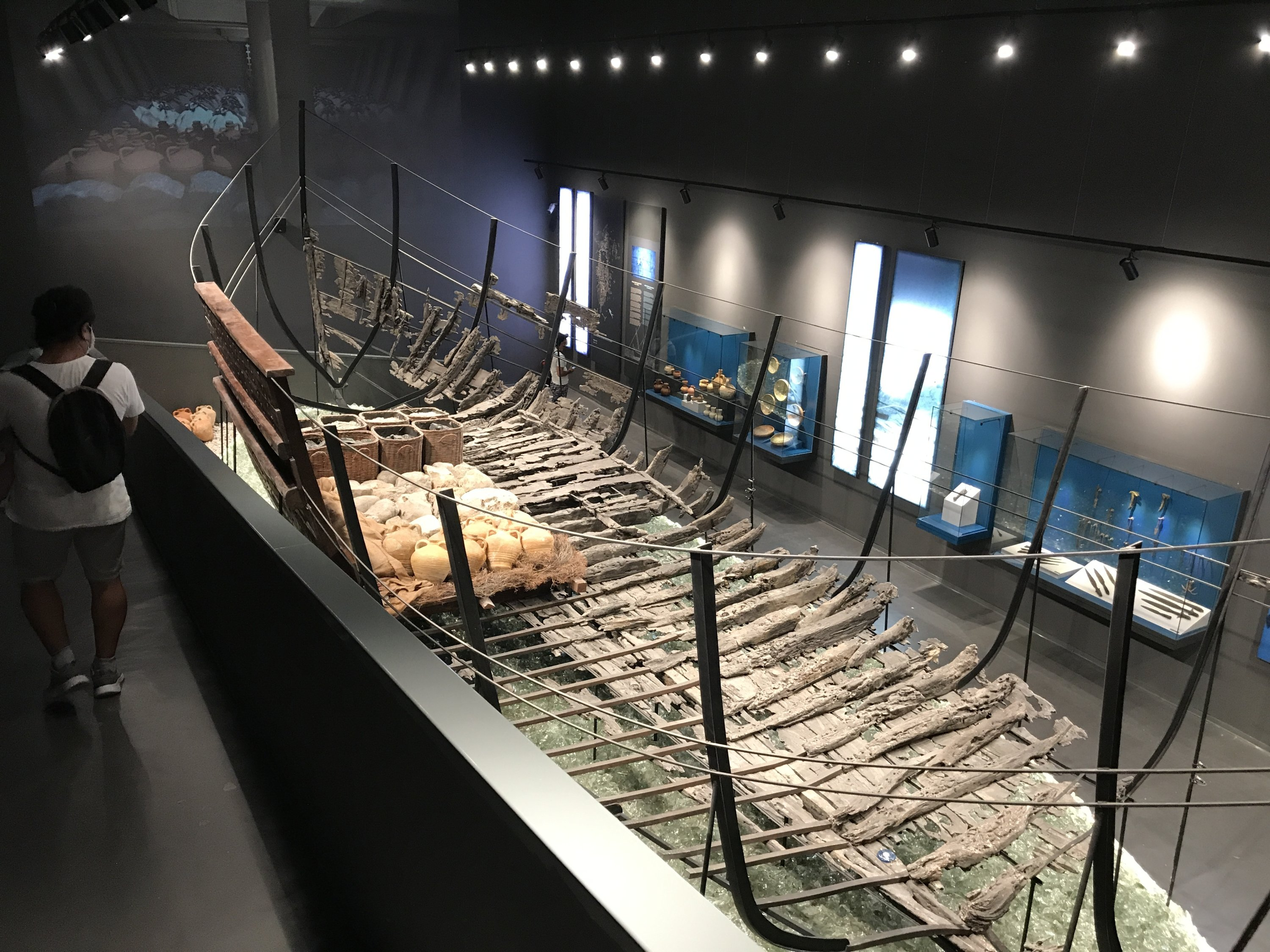 The shipwreck hauled from the sea is seen at the Bodrum Museum of Underwater Archaeology, Muğla, southwestern Turkey, Aug. 20, 2020. (AA Photo)