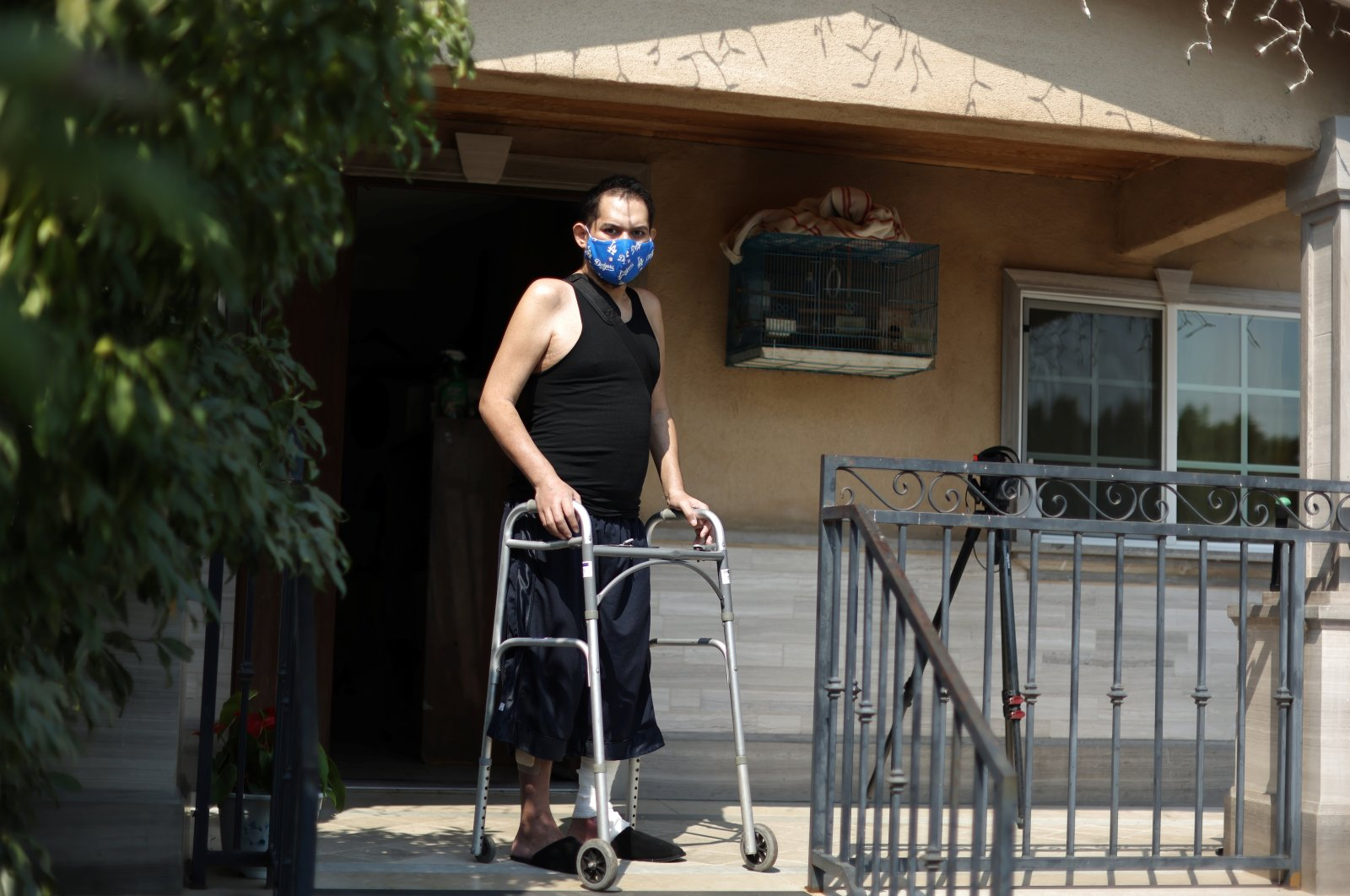 Francisco Garcia, 31, who spent almost four months in the hospital with COVID-19, recovers at his home in Los Angeles, California, U.S., Aug. 19, 2020. (REUTERS Photo)