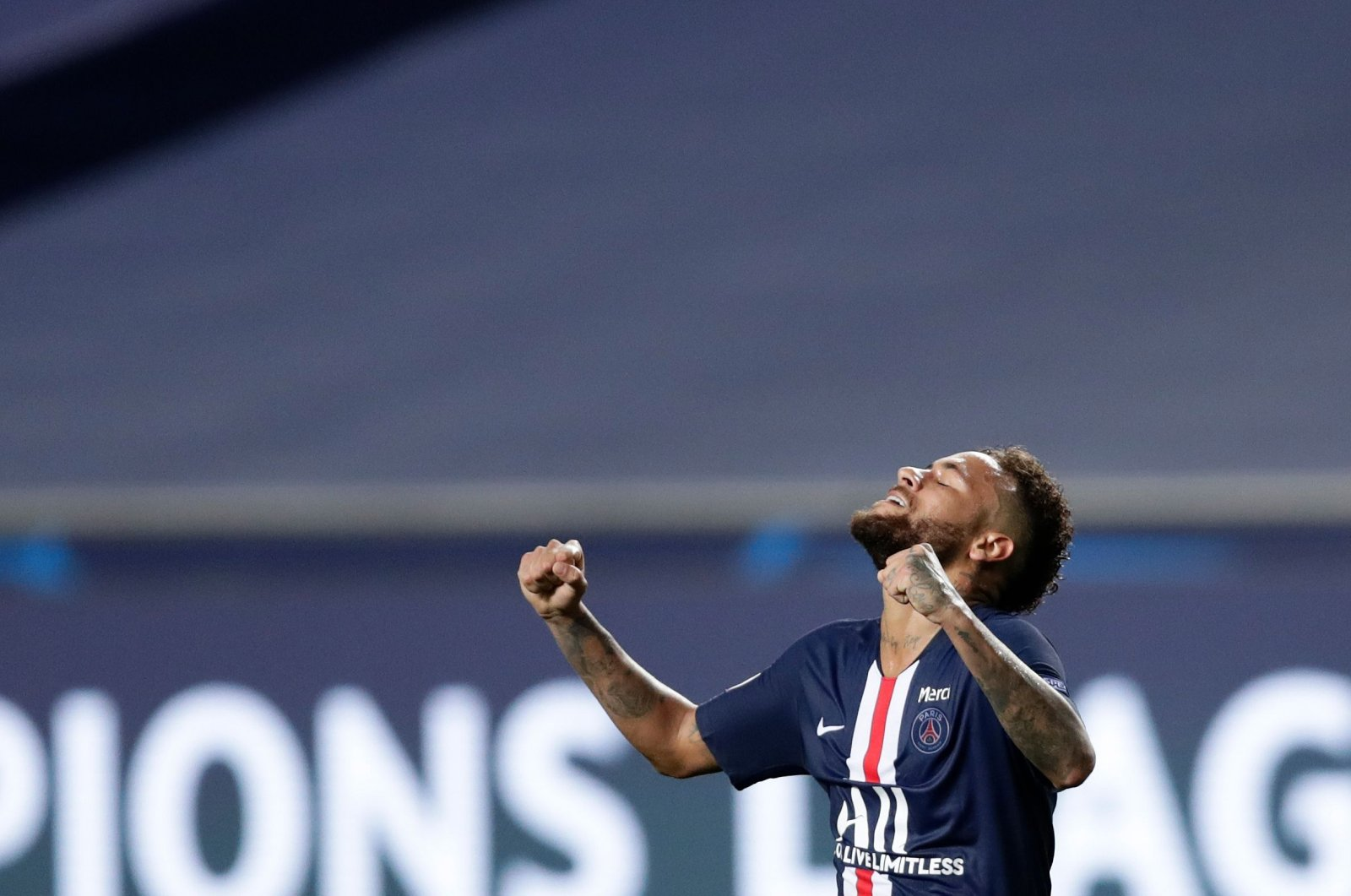 Paris Saint-Germain's Neymar celebrates after defeating Leipzing in the UEFA Champions League semifinal match in Lisbon, Portugal, Aug. 18, 2020. (AFP Photo)