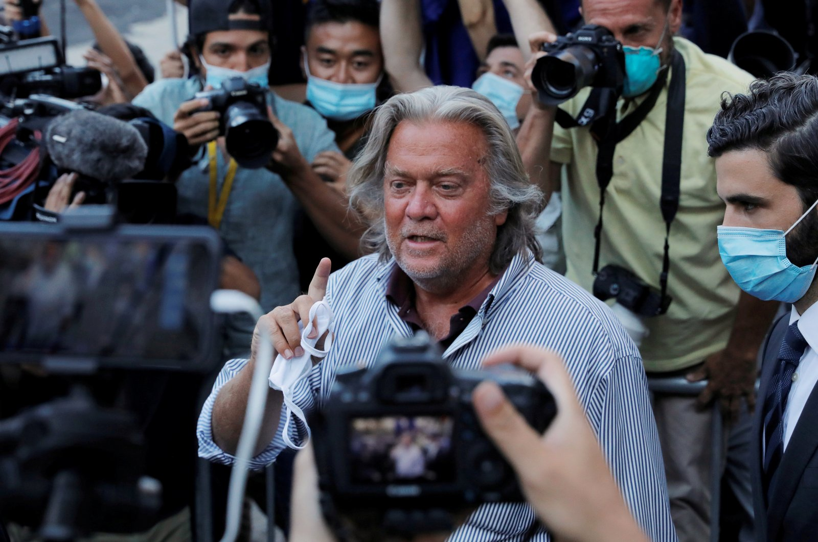 Former White House Chief Strategist Steve Bannon exits the Manhattan Federal Court, following his arraignment hearing for conspiracy to commit wire fraud and conspiracy to commit money laundering, in the Manhattan borough of New York City, New York, U.S., Aug. 20, 2020. (Reuters Photo)