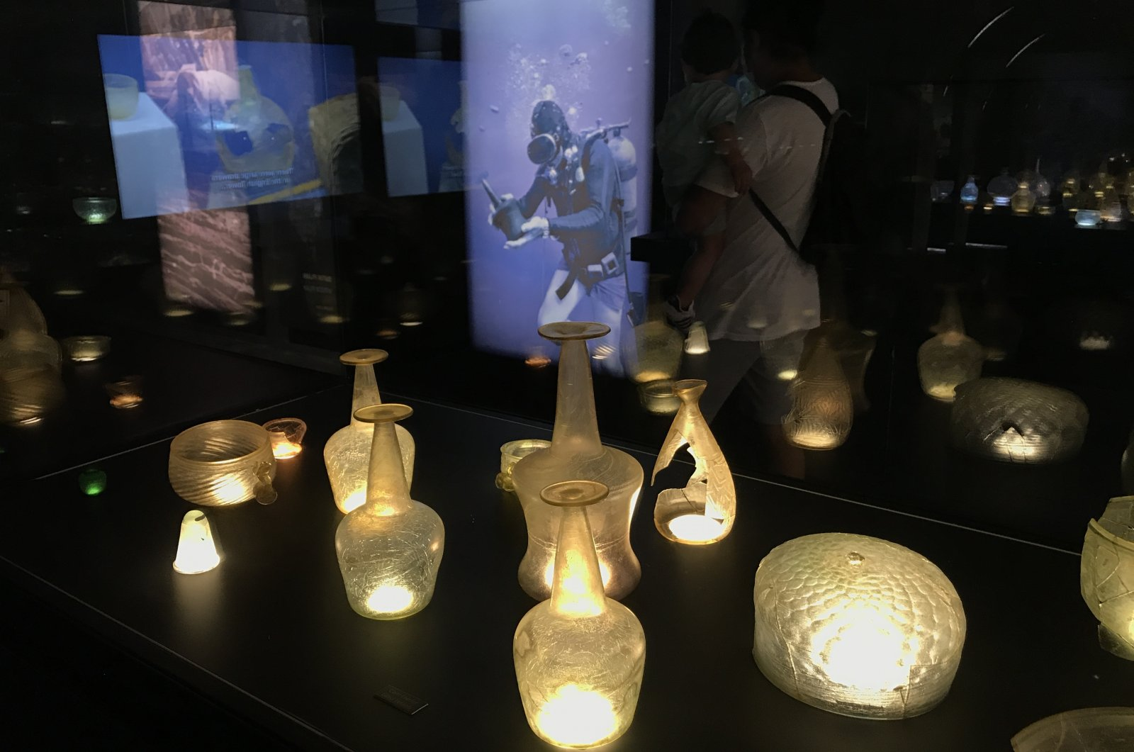 Glassware found during the excavations of the Serçe Port shipwreck are on display at the Bodrum Museum of Underwater Archaeology, Muğla, southwestern Turkey, Aug. 20, 2020. (AA Photo)