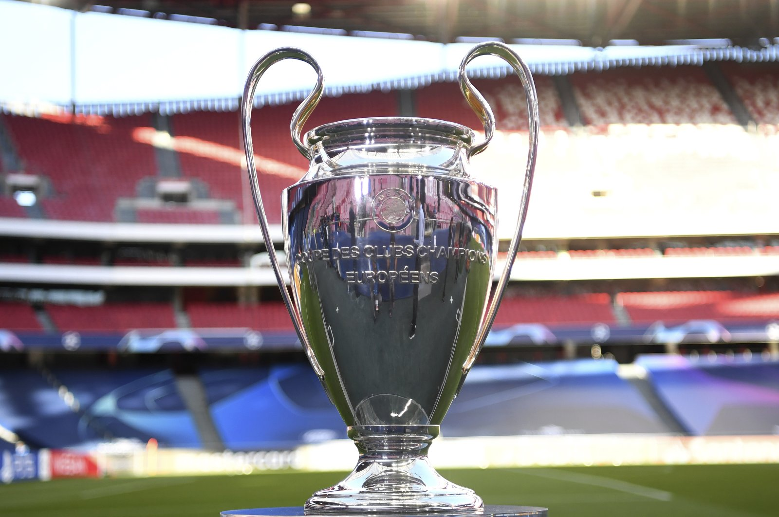 The Champions League trophy is on display before the semifinal match between Leipzig and Paris Saint-Germain (PSG) in Lisbon, Portugal, Aug. 18, 2020. (AP Photo)