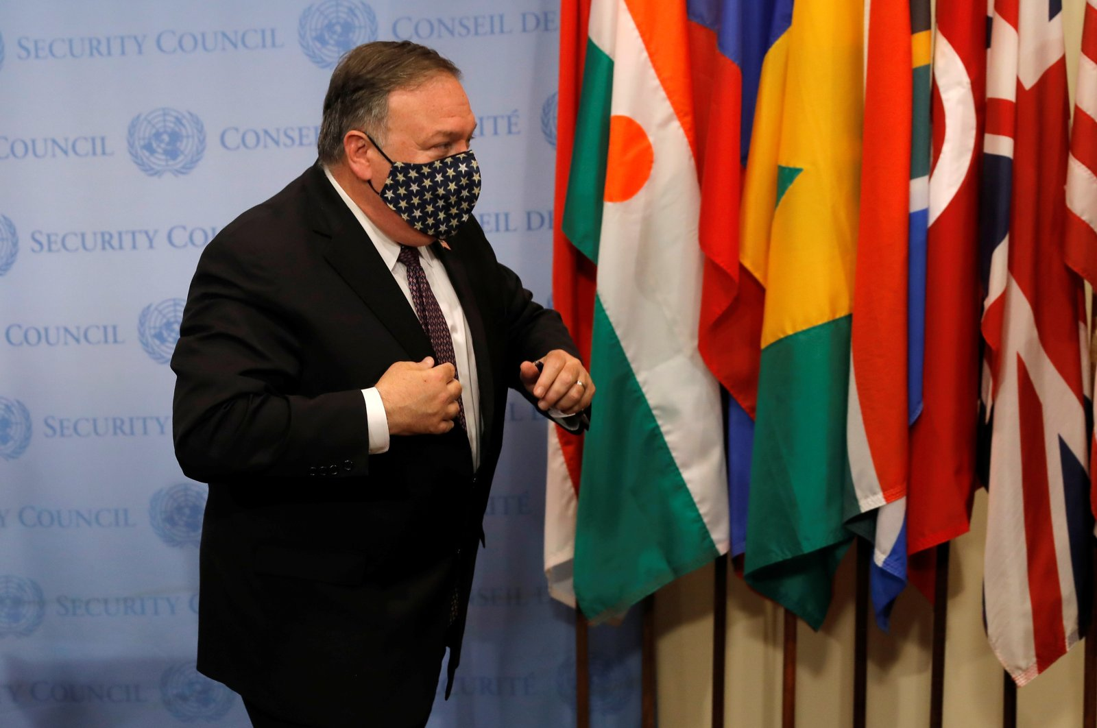 U.S. Secretary of State Mike Pompeo departs after speaking to reporters following a meeting with members of the U.N. Security Council at U.N. headquarters, New York, U.S., Aug. 20, 2020. (REUTERS Photo)