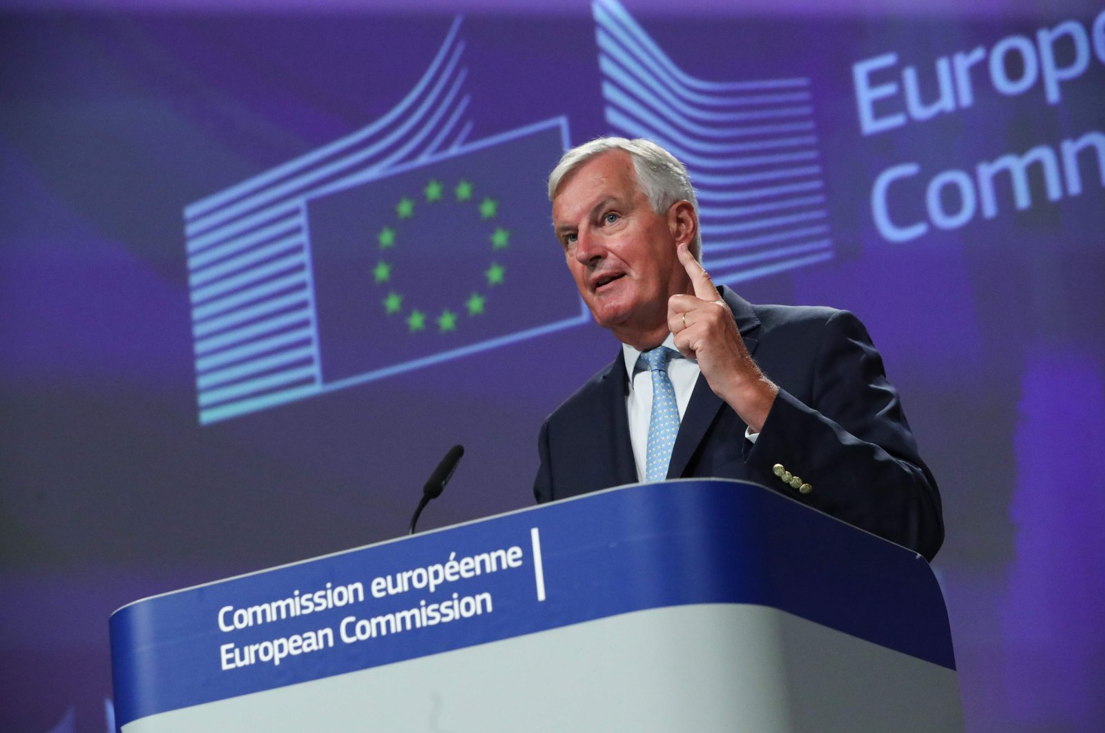 EU's Brexit negotiator Michel Barnier holds a news conference after a meeting with Britain's chief negotiator, Brussels, Aug. 21, 2020. (AFP Photo)