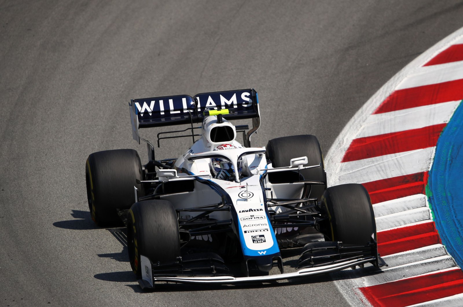 Williams' driver Nicholas Latifi steers his car during the Spanish Grand Prix race in Montmelo, Spain, Aug. 16, 2020. (AFP Photo)