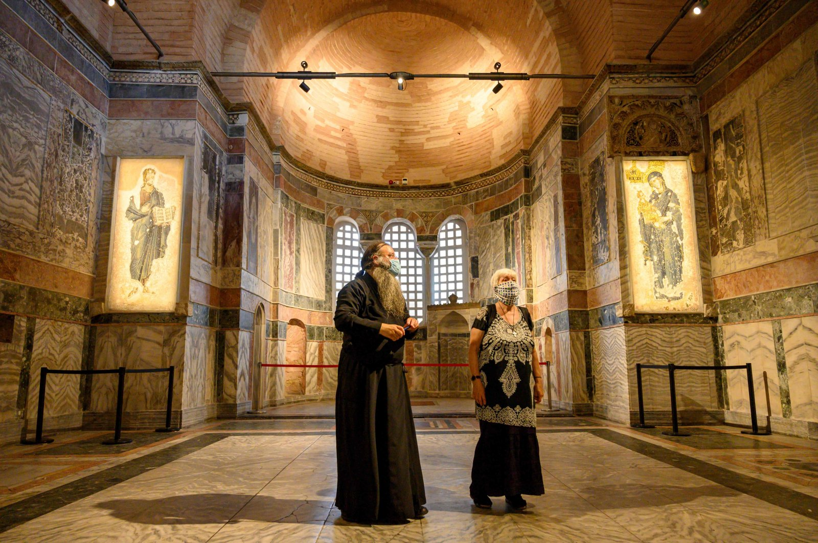 Two visitors admire the inside of Kariye Museum, in Istanbul, Turkey, Aug. 21, 2020. (AFP Photo)